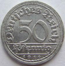 alto! 50 REICHSPFENNIG 1919 J in ECCELLENTE RARI