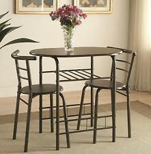 Coaster 150128 Dinette Dining Table And Chair 3 Pc Set In Brown Finish