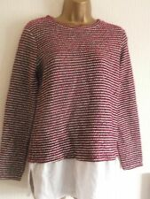 RED & WHITE STRIPED SPARKLY JUMPER / SHIRT TOP (S)