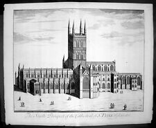1724 Kip Large Antique  Folio Print of Gloucester Cathedral, England