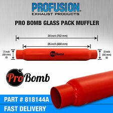 "2"" inch 50mm 26"" PRO Bomb glass pack exhaust muffler silencer Cherry Red Colour"