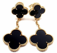 Authentic! Van Cleef & Arpels 18k Gold Black Onyx Magic Alhambra Earrings