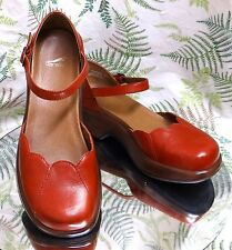 DANSKO RED LEATHER MULES CLOGS ANKLE STRAP DRESS SHOES US WOMENS SZ 8.5 9 EU 39