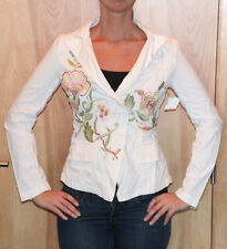 SUGAR LIPS Los Angele Women's White Floral Embroidered Blazer Sz Small NEW TAGS