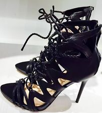 ZARA Black Lace Up Caged Leather Sandals Gladiator Heels Heel UK 4 Euro 37