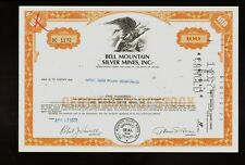 Bell Mountain Silver Mines Inc Nevada old stock certificate 1972
