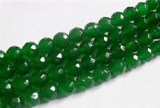8mm Faceted Natural Green Emerald Gemstone Round Loose Beads 15""