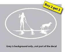 Female/Girl on Stand Up Paddle Board with Dog Sticker Decal Car Paddleboard SUP