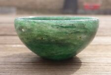 NATURAL GREEN JADE STONE HAND CARVED GEMSTONE BOWL [40]