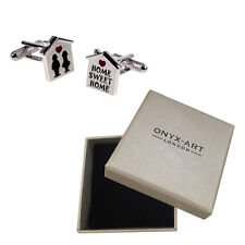 Mens Silver Home Sweet Home Cufflinks & Gift Box Estate Agent Gift By Onyx Art