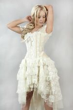 Gothic Victorian Steampunk Vintage Lace Taffeta Corset Wedding Prom Dress 8-10