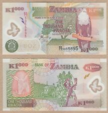 Zambia 1000 Kwacha 2005 P-44d UNC Uncirculated Polymer Banknote - Fish Eagle