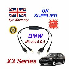 BMW X3 Series For Apple iPhone 5 5c 5s 6 iPod USB & Aux Audio Cable