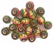 20 Peruvian 12 mm CERAMIC ROUND BEADS Rasta Yin-Yang