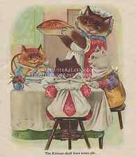 Mouse Pie-Three Little Kittens-ANTIQUE Vintage COLOR PRINT-Nursery Rhyme Picture