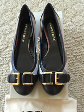 NIB Burberry London Classic Signature Check Plaids Leather Flats with Buckle 38
