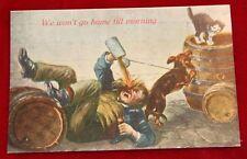 Vintage Cat kitten Dog Drunk Postcard 1912 Litho funny