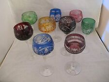 9 COLLECTION OF 9 BOHEMIAN CZECH Cut to Clear Crystal Wine Goblets Glasses