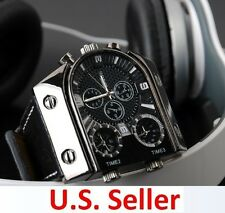 Russia Military Army Multi-Time Zones 3 Times Mens Sports Quartz Leather Watch