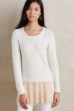ANTHROPOLOGIE NWT Cabled Ballerina Pullover Sweater Top White Nude Hem Sz M $168