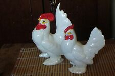 Large Pair of Vintage White Bantam Rooster Chicken Figurines Country Farm decor