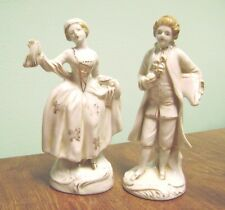"""MADE IN JAPAN- COLONIAL  MAN & WOMAN PORCELIAN WHITE AND GOLD 6"""" TALL  FIGURINES"""
