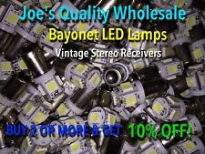 (20)BAYONET LED LAMPS-6.3V-AC/COOL / WARM WHITE-STEREO AMP/MC/MAC/1900-1700-BA9s