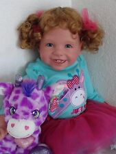 "Reborn 22"" Toddler Girl Doll ""Sissy"" + plush giraffe"