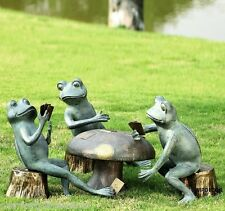 Casino Frogs Card Game Cheat Frog Mushroom Metal Garden Pond Pool Sculpture Set