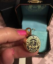 NIB, JUICY COUTURE, Gold 2008 Class Ring Charm Pendant, SCHOOL OF COUTURE JUICY