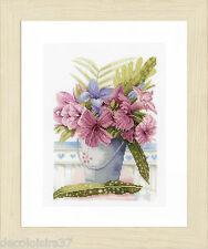 Lanarte | Flowers in a Bucket | Kit Broderie Point de Croix Compté - Etamine