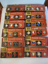 12 VINTAGE BOXES OF 100 HEAVY PLASTIC POKER CHIPS - SEE PICS