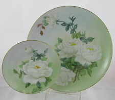 Old German Porcelain Hand Painted Artist Signed Roses Dinner&Small Plate Set #7