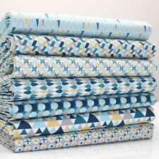 FQ Bundle - Le Motif 2 - Blue x 7 - 100% Cotton Fabric Fat Quarter