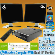 "HP COMPUTER CORE 2 DUO 2X 19"" TFT MULTI SCREEN FULL SET CHEAP PC FAST WIN7 Wi-Fi"