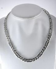 SWANK DESIGNER SILVER PLATED HEAVY WEIGHT CHAIN w RHINESTONE MEN'S NECKLACE NWOT