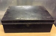 Vintage Metal Black Storage Tin Case Box Black Paint Great Patina