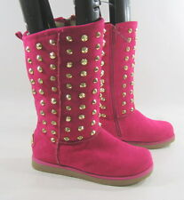 new pink Gold spikes round toe sexy  winter mid-calf boot inside fur .Size.  7 p