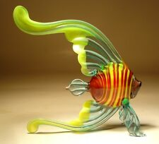 "Blown Glass ""Murano"" Figurine Exotic Angelfish Aqua & Red with Striped Body FISH"