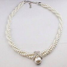 Fashion Women Choker Chunky Pearl Necklace Multi-layered Bib Pendant Wholesale
