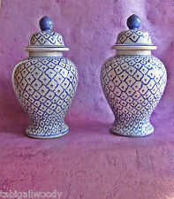 CHINOIS 2 potiches couvercles  bleu/blanc Vintage pair of oriental lidded jars