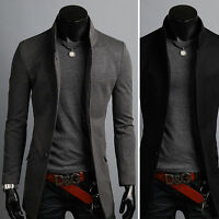 Mens Premium Slim Fit Button Jacket Collar Long Blazer Jumper Top-XS/S/M/L KOREA