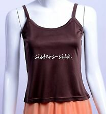 Womens Girls 100% Pure Silk Knitted Cami Camisole Vest Tank Tops Shirts Strappy
