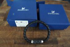Swarovski Aim Bracelet Black Calfskin Men's Unisex Jet Hematite Crystal -5037654