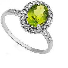 10K SOLID WHITE GOLD 1.39 CTW PERIDOT & DIAMONDS RING SIZE N