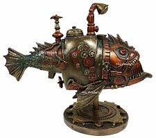 Steampunk Submarine Anglerfish Melanocetus-Unus Statue Sculpture Bronze Finish
