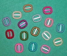15 tiny Plastic buckles, doll sewing clothes belts crafts. 'SMALL MIXED'