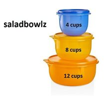 TUPPERWARE New CLASSIC FLAT BOTTOM MIXING BOWL SET 4, 8, 12 cup iNsTOCK fREEsHIP