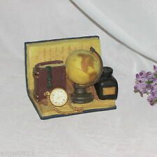 LETTER HOLDER BOOK POCKET WATCH GLOBE CHERISON LIBRARY COLLECTION HAND PAINTED