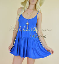 ROYAL BLUE Tiered Casual Sleeveles Peasant Babydoll Hippie Cami Tank Top Dress M